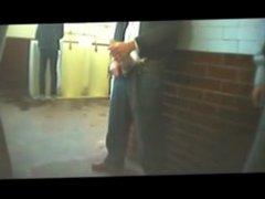 Public Bathroom vidz showing and  super stroking HUGE cock