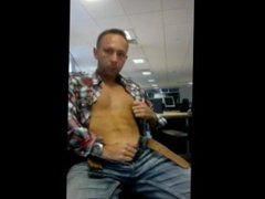 Hardbodied Gay vidz guy jerking  super his fat cock at the office - BIG Load