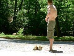 Barefoot and vidz Naked Public  super Jackoff