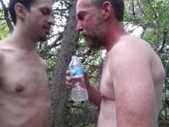 Pig manthroat vidz feeds hungry  super pupbalto his spit water in public exsposed woods