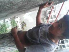 Filming a vidz guy masturbate  super in public behind a wall