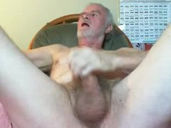 Old grey vidz haired guy  super shooting his load
