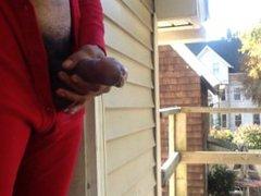 Guy Jacking vidz Off On  super Front Porch