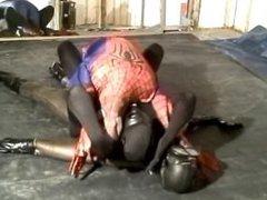 black spandex vidz man humps  super spiderman and frogman