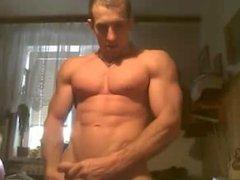 Muscle guy vidz flex, jerk  super and cum on cam