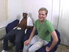 Blonde guy vidz does terrible  super blowjob on a black cock