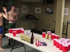 Hot White vidz Boys Play  super Beer Pong In Boxers