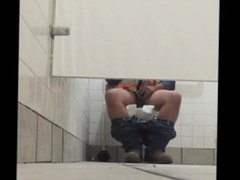 Construction Worker vidz Plays With  super His Small Cock in Public Bathroom