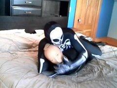 Skeleton against vidz stocking masked  super wetsuited frogman