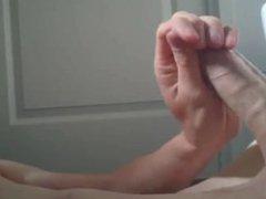 uncut twink vidz blows load  super in bathroom - nice closeup, gorgeous cock