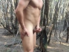 Super Hung vidz Muscle Jock  super jerks off in woods and cums - exhibitionist