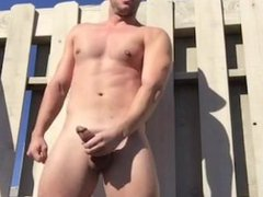 HotCollege Jock vidz jerks big  super cock off outside and shoots his seed