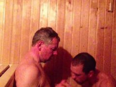 Older Younger vidz Sauna Cock  super Sucking (Daddy and Son)