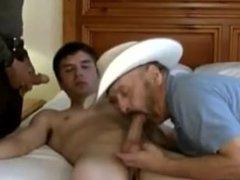 hot young vidz boy lets  super 2 old cowboys break him in..amatuers