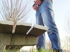 urinating against vidz a bench