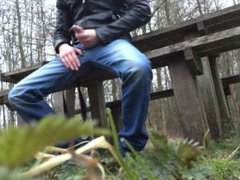 jerking and vidz cumming in  super public on a bench