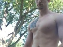 Hot College vidz Jock jerking  super off outside
