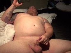 chubby tattooed vidz guy with  super pierced dick jacks off to porn