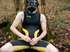 GoldenBoy - vidz Wank in  super the wood - outside jerk off - latex mask gas