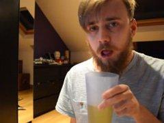 Drinking own vidz piss and  super gagging