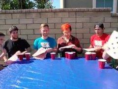Redhead gets vidz wet with  super 5 guys.