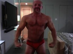 Ali Badi vidz Posing in  super Red Trunks