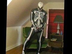 Spandex skeleton vidz with skeleton  super lucha libre mask edging