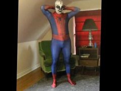 Spiderman wearing vidz a skeleton  super lucha libre wrestling mask
