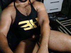 Hot brazilian vidz jerking his  super huge uncut dick