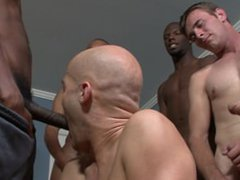 Blue eyed vidz guy with  super shaved head gets gang banged and creamed