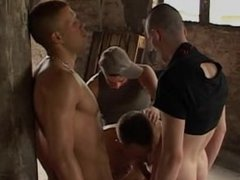 Three guys vidz gangbang one  super of thier buddies and turn him into their bitch