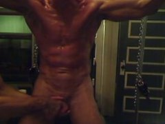 Arms cuffed vidz up, shaved,  super oiled, stroked and edged
