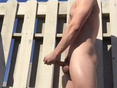Sexy Punk vidz Pulls Down  super His Shorts and Cums Outdoors