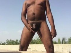 Indian man vidz strips and  super masturbate outdoors and cum