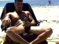 Stroking Muscle vidz Cock on  super the Beach