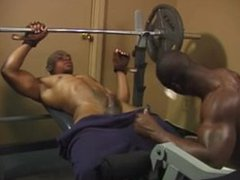 two black vidz men making  super love in the gym