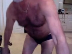 Hairy hot vidz mature man  super dancing and unloading his hot cock