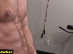 Tattooed stud vidz wanking his  super uncut cock