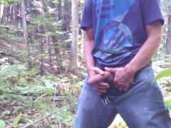 Piss, foreskin vidz play &  super jerk off in the forest