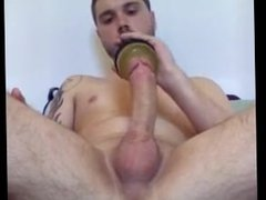 Playing with vidz his fleshlight