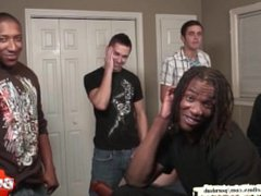 Cute twink vidz gets his  super first interracial bareback gangbang - Bukkake Boys!