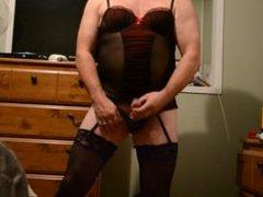 stroking in vidz lingerie