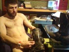 SMELLYBIKER - vidz naked bearded  super biker wanks phimosis cum on stinky boots