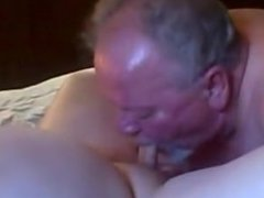 fat Old vidz dad getting  super sucked and swallowed his load by a fat old bear friend