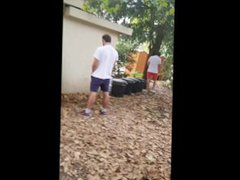 Two guys vidz caught pissing  super in public place