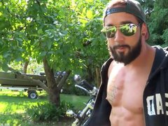Maskurbate Hunky vidz Biker Jerks  super Dick Outside