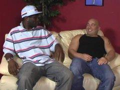 Chubby bald vidz guy does  super decent deepthroat on BBC