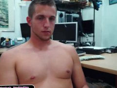 Hot guy vidz strips in  super pawn shop and sucks cock
