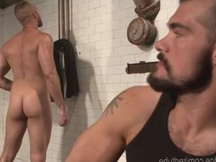 Muscled Jock vidz Edged In  super Gym Locker Room