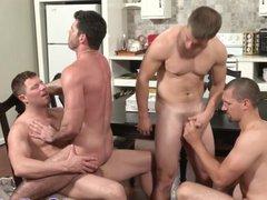 Closeup gay vidz assbanging action  super with four hunks